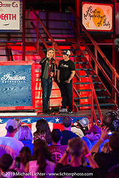 American Pickers' Mike Wolfe Saturday night reveal of the new 2015 Indian Scout in the American Motordrome Wall of Death during the Sturgis Black Hills Rally. Sturgis, SD, USA. August 2, 2014.  Photography ©2014 Michael Lichter.
