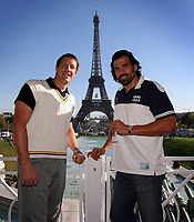 """Photo: Paul Thomas/Sportsbeat Images.<br />South Africa Reception at Rugby Town. 21/10/2007.<br /><br />South African locks, Bakkies Botha (L) and """"Man of the Match"""" Victor Matfield pose in front of the Effiel Tower."""
