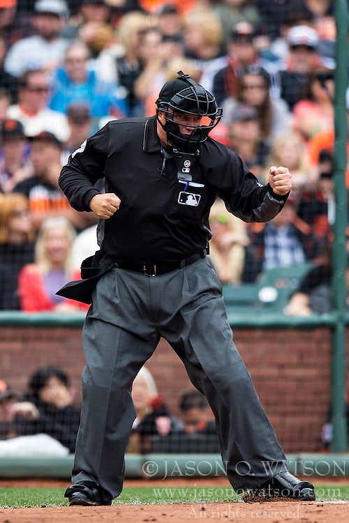 SAN FRANCISCO, CA - APRIL 09:  MLB umpire Brian O'Nora #7 calls a strike during the second inning between the San Francisco Giants and the Los Angeles Dodgers at AT&T Park on April 9, 2016 in San Francisco, California. The Los Angeles Dodgers defeated the San Francisco Giants 3-2 in 10 innings. (Photo by Jason O. Watson/Getty Images) *** Local Caption *** Brian O'Nora