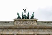 The Quadriga statue on the Brandenburg Gate (Brandenburger Tor) in Berlin, Germany, April 05, 2012.