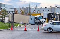November 3, 2018 - Baltimore, Maryland, US - Extensive damage can be seen at the Amazon fulfillment center in Baltimore after sunrise Saturday morning. The damage is a result of a severe weather event late Friday night. Firefighters and special operations teams from Baltimore City Fire Department are seen working to locate and remove a second victim. (Credit Image: © Michael Jordan/ZUMA Wire)