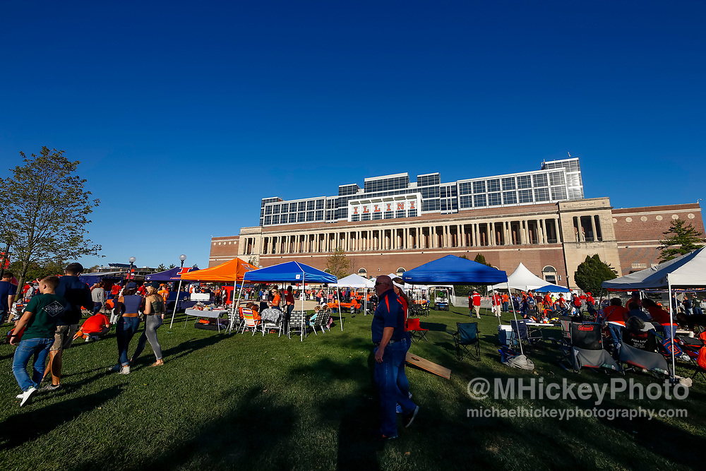 CHAMPAIGN, IL - SEPTEMBER 29: Illinois Fighting Illini fans are seen in the tailgating area before the game against the Nebraska Cornhuskers at Memorial Stadium on September 29, 2017 in Champaign, Illinois. (Photo by Michael Hickey/Getty Images)