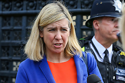 © Licensed to London News Pictures. 22/05/2019. London, UK. Andrea Jenkyns, Conservative MP for Morley and Outwood speaking to the media outside Houses of Parliament on the eve of the European Parliament election.  Photo credit: Dinendra Haria/LNP
