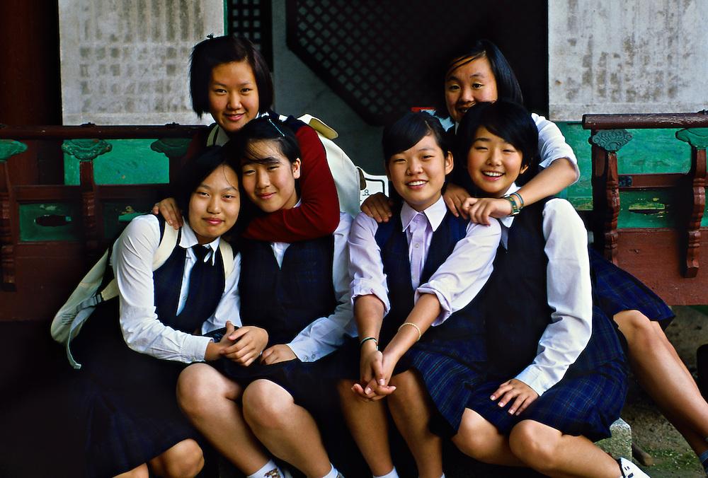 Korean school girls at Piwon (the Secret Garden), Changdok Palace, Seoul, South Korea