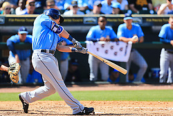 March 10, 2017 - Bradenton, Florida, U.S. - WILL VRAGOVIC   |   Times.Tampa Bay Rays first baseman Jake Bauers (70) singles in the fourth inning of the game between the Pittsburgh Pirates and the Tampa Bay Rays at LECOM Park in Bradenton, Fla. on Friday, March 10, 2017. (Credit Image: © Will Vragovic/Tampa Bay Times via ZUMA Wire)