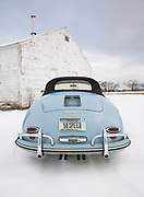 seattle-car-photographer-randy-wells-automotive-videographer-filmmaker-cinematographer-storyteller-writer-location-and-studio-specialist, Image of a 1958 Porsche 356 Speedster in the snow in Missoula, Montana, Pacific Northwest, property released