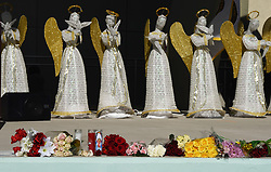 Flowers, candles, photos and messages line the stage in front of 17 angels representing those who died in Wednesday's mass shooting at Marjory Stoneman Douglas High School in Parkland, FL, USA, on Thursday, February 15, 2018. Photo by Taimy Alvarez/Sun Sentinel/TNS/ABACAPRESS.COM