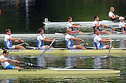 2004 FISA World Cup Regatta Lucerne Switzerland. 19.06.04..Photo Peter Spurrier.Britain's, James Cracknell, Steve Williams, Alex Partridge and Matt Pinsent f, on their way to winning their heat of the men's four and booking a place in tomorrows final. Rowing Course, Lake Rottsee, Lucerne, SWITZERLAND. [Mandatory Credit: Peter Spurrier: Intersport Images]