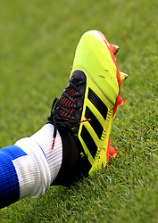 """Everton's Leighton Baines' Adidas football boot during the Premier League match at Goodison Park, Liverpool. PRESS ASSOCIATION Photo. Picture date: Saturday September 29, 2018. See PA story SOCCER Everton. Photo credit should read: Peter Byrne/PA Wire. RESTRICTIONS: EDITORIAL USE ONLY No use with unauthorised audio, video, data, fixture lists, club/league logos or """"live"""" services. Online in-match use limited to 120 images, no video emulation. No use in betting, games or single club/league/player publications."""