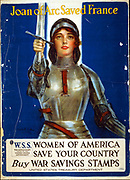 Joan of Arc saved France--Women of America, save your country--Buy War Savings Stamps Poster by Haskell Coffinll, artist  [1918]. World War I poster showing Joan of Arc raising a sword.