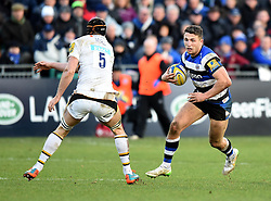 Bath Rugby centre Sam Burgess in Aviva Premiership action against Wasps at the Recreation Ground - Photo mandatory by-line: Paul Knight/JMP - Mobile: 07966 386802 - 10/01/2015 - SPORT - Rugby - Bath - The Recreation Ground - Bath Rugby v Wasps - Aviva Premiership