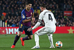 February 6, 2019 - Barcelona, Spain - Luis Suarez and Sergio Ramos during the match between FC Barcelona and Real Madrid corresponding to the first leg of the 1/2 final of the spanish cup, played at the Camp Nou Stadium, on 06th February 2019, in Barcelona, Spain. (Credit Image: © Joan Valls/NurPhoto via ZUMA Press)