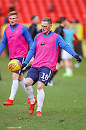 Southend United midfielder Sam Mantom (18) warms up prior to the EFL Sky Bet League 1 match between Charlton Athletic and Southend United at The Valley, London, England on 9 February 2019.