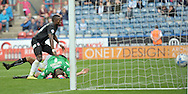 Igor Vetokele of Charlton Athletic scores a last min equaliser during the Sky Bet Championship match at the John Smiths Stadium, Huddersfield<br /> Picture by Graham Crowther/Focus Images Ltd +44 7763 140036<br /> 23/08/2014