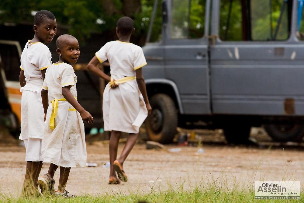 Girls in school uniforms in Kpong, Ghana on Wednesday June 17, 2009.