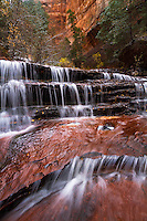 The North Fork of the Virgin River slowly cascades its way over the steps of Archangel Falls near The Subway in Zion National Park.