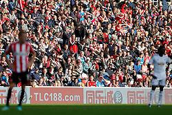 Sunderland fans look on in the sun - Photo mandatory by-line: Rogan Thomson/JMP - 07966 386802 - 27/08/2014 - SPORT - FOOTBALL - Sunderland, England - Stadium of Light - Sunderland v Swansea City - Barclays Premier League.