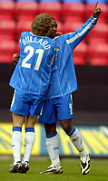 Photo: Chris Brunskill. Wigan Athletic v Millwall. Coca-Cola Championship. 12/03/2005. Nathan Ellington of Wigan celebrates with teammate Jimmy Bullard after scoring the opening goal of the game from the penalty spot.