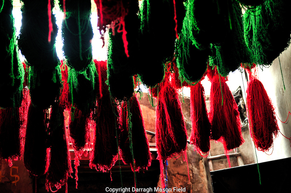 Wool drying after dying