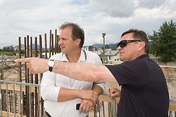 Ivan Simic of NZS , Mayor of Ljubljana Zoran Jankovic at open door day 1 year before opening of new football stadium and sports hall in Stozice,  on June 30, 2009, at Stadium Stozice, Ljubljana, Slovenia. (Photo by Vid Ponikvar / Sportida)