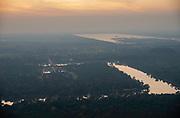 Aerial view of Angkor Wat at sunset, north of Siem Reap, Cambodia.