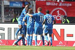 07.05.2011, easy Credit Stadion, Nuernberg, GER, 1. FC Nuernberg vs TSG 1899 Hoffenheim, im Bild:  Roberto Firmino (Hoffenheim #22) macht das 1:1 und jubelt mit David Alaba (Hoffenheim #8) Sebastian Rudy (Hoffenheim #6), Gylfi Sigurdsson (Hoffenheim #11) sowie Edson Braafheid (Hoffenheim #28).EXPA Pictures © 2011, PhotoCredit: EXPA/ nph/  news       ****** out of GER / SWE / CRO  / BEL ******