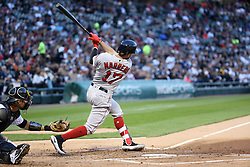 May 30, 2017 - Chicago, IL, USA - Boston Red Sox batter Deven Marrero hits a two-run home run in the second inning against the Chicago White Sox at Guaranteed Rate Field in Chicago on Tuesday, May 30, 2017. (Credit Image: © Chris Sweda/TNS via ZUMA Wire)