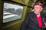 Cecil Hughs, 9 Para, inside a dakota. Veterans of the Parachute Regiment at the time of D Day, in the second world war, visit 16 Air Assault Brigade who will be carrying out a drop to commemorate the 70th anniversary next week. Colchester, UK.