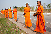 """10 APRIL 2010 - NAKHON PHANOM, THAILAND: Boy who have entered the """"Sangha"""" (Thai for Buddhist clergy) for their summer break go out on morning alms rounds with the monks from their temple. The boys go into the monastery for one month to six weeks and live and study with the monks. They go out for alms rounds, eat two meals per day, one early in the morning and the second just before noon and then don't eat again till morning and do not have any physical contact with women, including their mothers and members of their family. It's a traditional rite of passage for boys in rural Thailand.  PHOTO BY JACK KURTZ"""