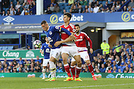 Ross Barkley of Everton (l) shields the ball from Daniel Ayala of Middlesbrough. Premier league match, Everton v Middlesbrough at Goodison Park in Liverpool, Merseyside on Saturday 17th September 2016.<br /> pic by Chris Stading, Andrew Orchard sports photography.