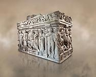 Sidamara Sarcophagus, a 2nd century marble Roman sarcophagus from Ambararasi (Konya) Turkey. Istanbul Archaeology Museum, Inv 1179T Cat. Mendel 112.