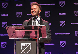 David Beckham gives a non-script speech during the announcement of the new Miami MSL team on Monday, January 29, 2018 inside the Knight Concert Hall at The Adrienne Arsht Center in Miami, FL, USA. Photo by Carl Juste/Miami Herald/TNS/ABACAPRESS.COM