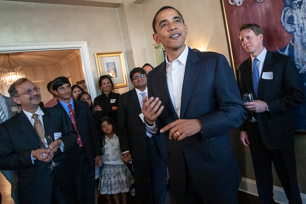 Manhattan, New York   2008<br /> During his first presidential campaign, Senator Barack Obama attends a fundraiser organized by South Asians for Obama at a private home on the Upper East Side.