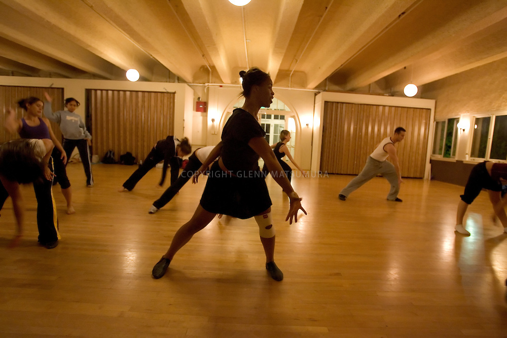 Stanford after dark. Tracy Conner, (jr) practices with the Urban Styles dance group.