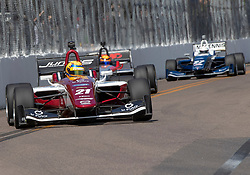 March 9, 2019 - St. Petersburg, FL, U.S. - ST. PETERSBURG, FL - MARCH 09: Rinus VeeKay (21) during the start of the Indy Lights Race of St. Petersburg on March 9 in St. Petersburg, FL. (Photo by Andrew Bershaw/Icon Sportswire) (Credit Image: © Andrew Bershaw/Icon SMI via ZUMA Press)
