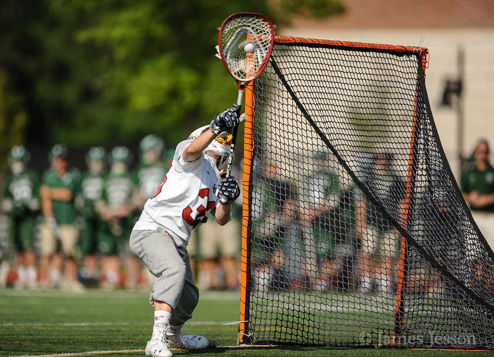 Lincoln-Sudbury Regional High School sophomore goalie Trevor Van Leer makes a save during the Division 1 North Championship game against Billerica Memorial High School at Connolly Memorial Stadium in Woburn, June 13, 2015. The Warriors beat the Indians, 12-8.   (Wicked Local Photo/James Jesson)