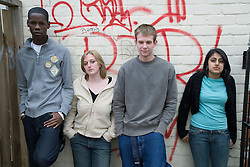 Portrait of a group of teenagers,
