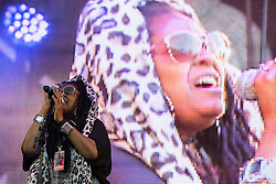 © Licensed to London News Pictures . 08/08/2015 . Siddington , UK . KARON WHEELER of SOUL II SOUL on stage at The Rewind Festival of 1980s music , fashion culture at Capesthorne Hall in Macclesfield . Photo credit: Joel Goodman/LNP