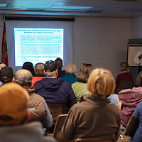 The meeting room at the Octavia Fellin Public Library was packed Thursday evening for the lecture, Hispanic Contribution to the American Revolution.