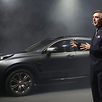 Peter Horbury designer explains the ideas behind the 01 car during its launch in Gothenburg Sweden.China's Geely, owner of Volvo Cars and London Taxi Company, launch a new brand LYNK & CO to the world's media - with the 'world's most connected car'.  Pictured is the company's first model - the 01, designed by Brit, Peter Horbury.Photograph David Cheskin.19.10.2016