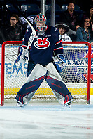 KELOWNA, BC - MARCH 7: Bryan Thomson #30 of the Lethbridge Hurricanes stands in net against the Kelowna Rockets at Prospera Place on March 7, 2020 in Kelowna, Canada. (Photo by Marissa Baecker/Shoot the Breeze)