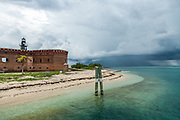 Fort Jefferson, Garden Key Lighthouse and Thunderstorm