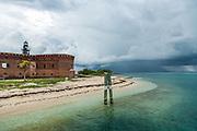 Fort Jefferson, Garden Key Lighthouse and Thunderstorm