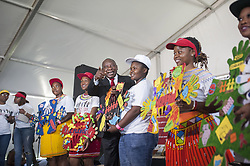 JOHANNESBURG, SOUTH AFRICA - DECEMBER 01 : Deputy President of South Africa Cyril Ramaphosa (C) attends an event to raise awareness on World AIDS Day at Sinaba Stadium in Daveyton town Johannesburg, South Africa on December 01, 2016. Ihsaan Haffejee / Anadolu Agency  | BRAA20161201_628 South Africa Afrique du Sud South Africa