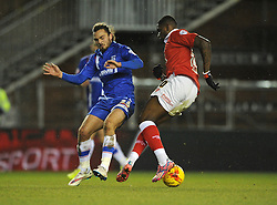 Bristol City's Jay Emmanuel-Thomas turns inside of Gillingham's Bradley Dack - Photo mandatory by-line: Dougie Allward/JMP - Mobile: 07966 386802 - 29/01/2015 - SPORT - Football - Bristol - Ashton Gate - Bristol City v Gillingham - Johnstone Paint Trophy