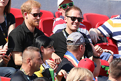 Prince Harry had fun with a member of the crowd at the York Stadium by taking his scarf from him then giving it back whilst watching the first day of athletics at the York Stadium Toronto on day two of the 2017 Invictus games Toronto<br />