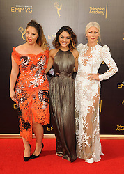 Kether Donohue, Vanessa Hudgens, Julianne Hough arriving to the Creative Arts Emmy Awards held at the Microsoft Theatre L.A. Live in Los Angeles, CA, USA, September 11, 2016. Photo by Apega/ABACAPRESS.COM