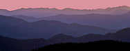 layers of ridges at sunset from Mount Tahoma Trails High Hut - Cascade Mountain Range, WA, USA