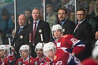 Ishockey<br /> 18. April 2015<br /> Landskamp<br /> Bergenshallen<br /> Norge - Latvia 2 - 1<br /> Norges trener Roy Johansen (3R)<br /> Foto: Astrid M. Nordhaug