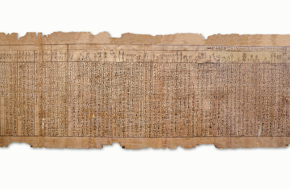 Ancient Egyptian Book of the Dead papyrus - Spell 17 about the God Atum, Iufankh's Book of the Dead, Ptolemaic period (332-30BC).Turin Egyptian Museum. White Background<br /> <br /> the spell is one of the ongest in the Book of the Dead and one of its most complex frequently used in many other Books of the Dead. It is about the nature of the creator God Atum and is meant to make sure the deceased is capable of demonstrating his of her knowledge of religious secrets<br /> <br /> The translation of  Iuefankh's Book of the Dead papyrus by Richard Lepsius marked a truning point in the studies of ancient Egyptian funereal studies. .<br /> <br /> If you prefer to buy from our ALAMY PHOTO LIBRARY  Collection visit : https://www.alamy.com/portfolio/paul-williams-funkystock/ancient-egyptian-art-artefacts.html  . Type -   Turin   - into the LOWER SEARCH WITHIN GALLERY box. Refine search by adding background colour, subject etc<br /> <br /> Visit our ANCIENT WORLD PHOTO COLLECTIONS for more photos to download or buy as wall art prints https://funkystock.photoshelter.com/gallery-collection/Ancient-World-Art-Antiquities-Historic-Sites-Pictures-Images-of/C00006u26yqSkDOM